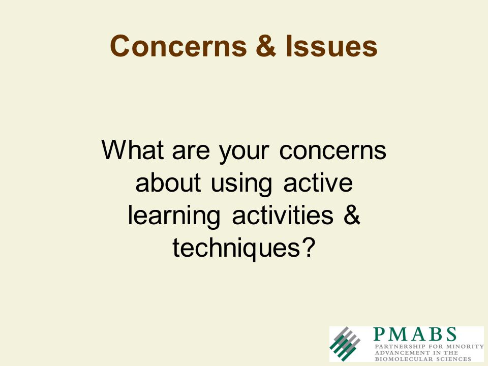 Concerns & Issues What are your concerns about using active learning activities & techniques?