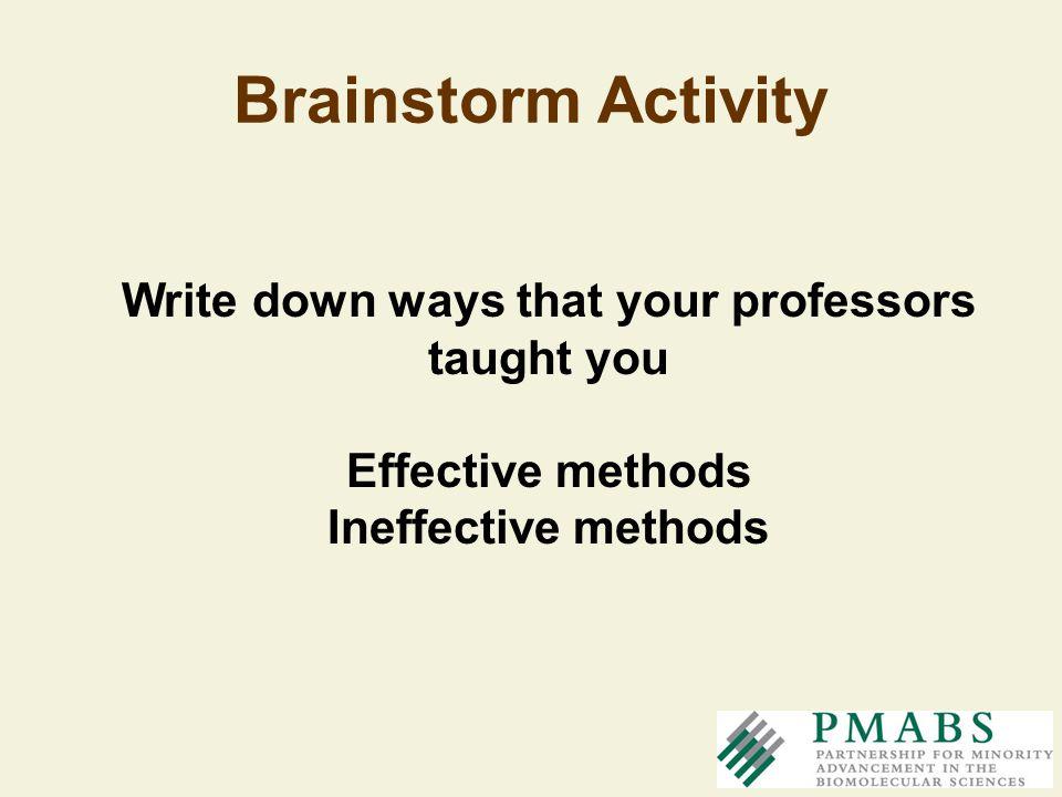 Brainstorm Activity Write down ways that your professors taught you Effective methods Ineffective methods