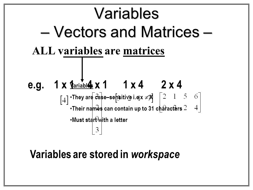 Variables – Vectors and Matrices – ALL variables are matrices Variables They are case–sensitive i.e x X Their names can contain up to 31 characters Mu