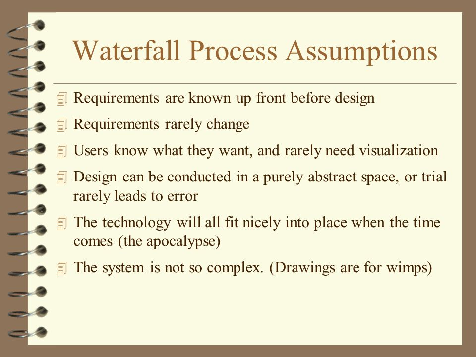 Waterfall Process Assumptions 4 Requirements are known up front before design 4 Requirements rarely change 4 Users know what they want, and rarely nee