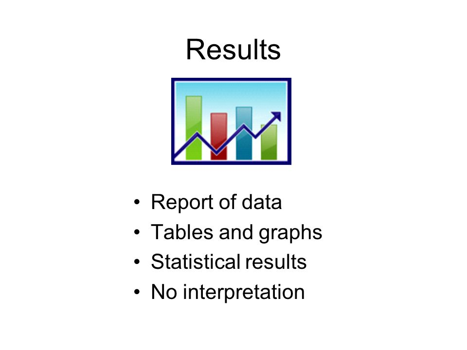 Results Report of data Tables and graphs Statistical results No interpretation