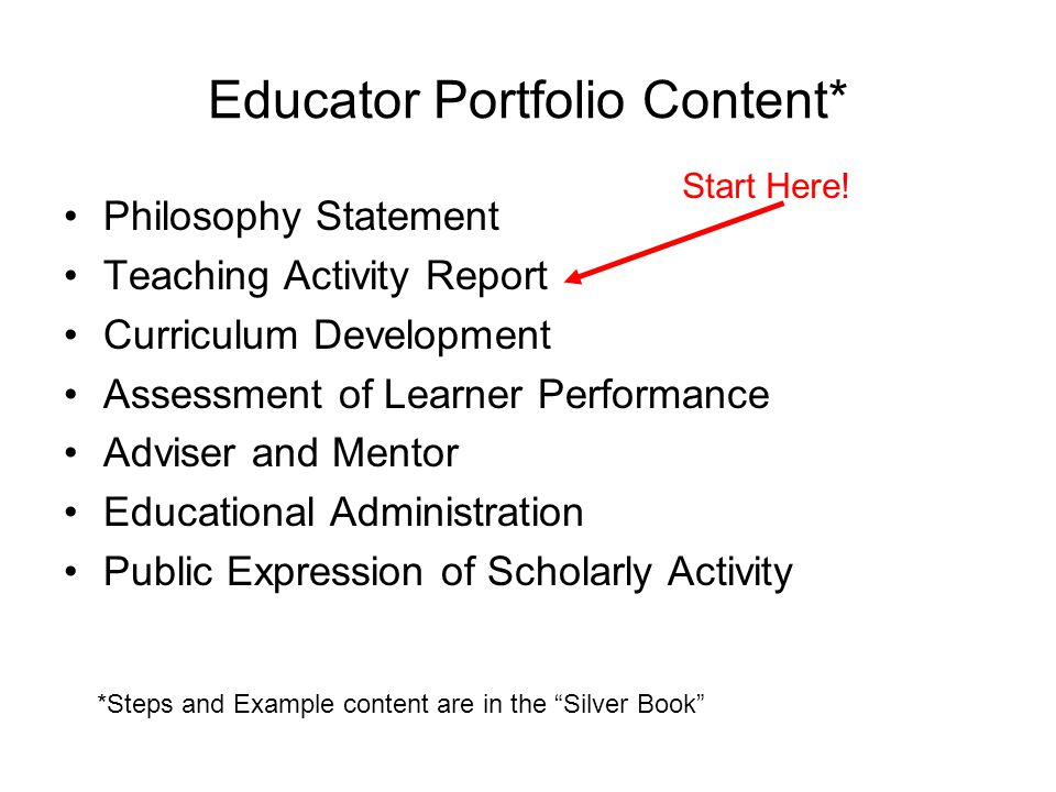 Educator Portfolio Content* Philosophy Statement Teaching Activity Report Curriculum Development Assessment of Learner Performance Adviser and Mentor