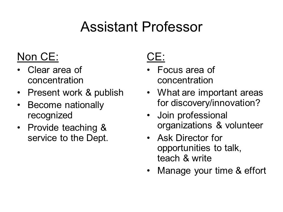 Assistant Professor Non CE: Clear area of concentration Present work & publish Become nationally recognized Provide teaching & service to the Dept.