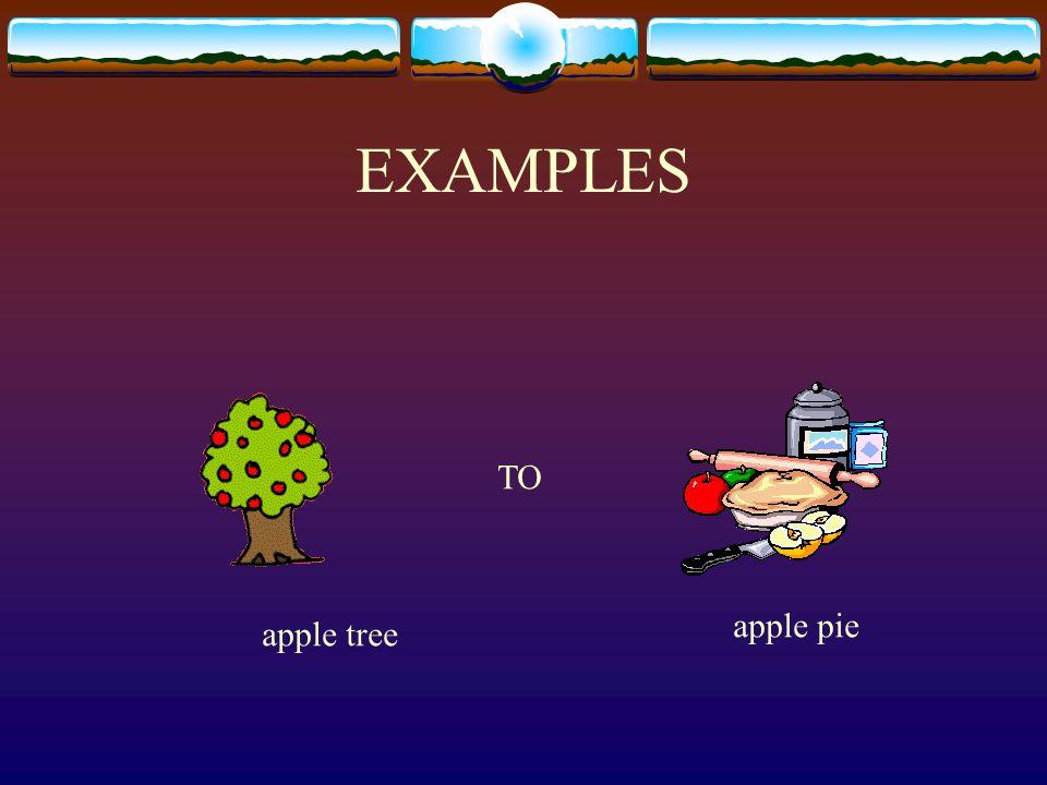EXAMPLES apple tree apple pie TO