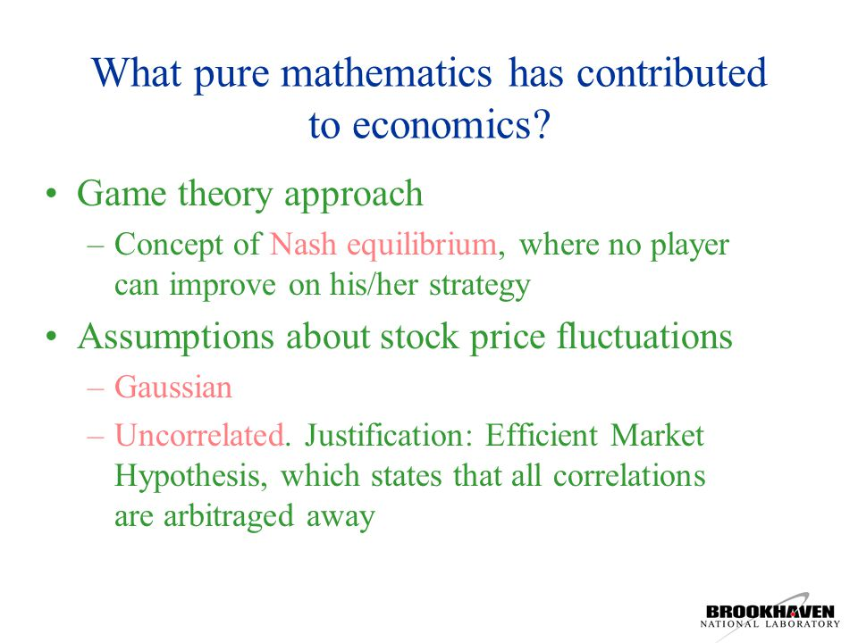 What pure mathematics has contributed to economics.