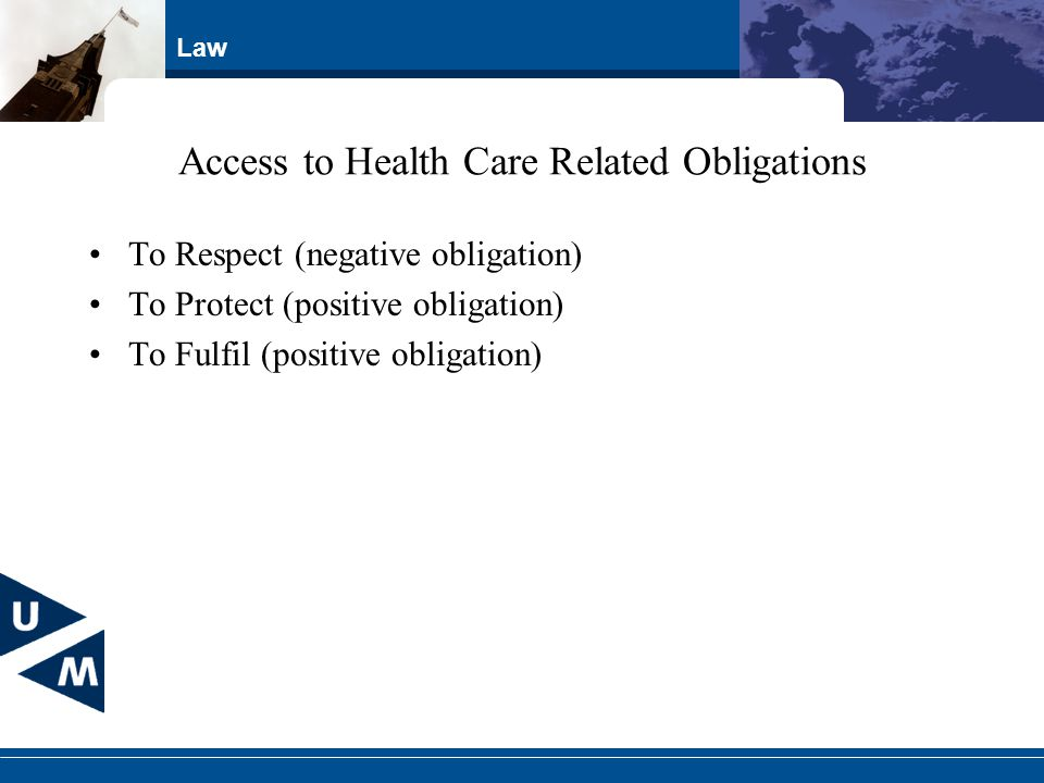 Law Access to Health Care Related Obligations To Respect (negative obligation) To Protect (positive obligation) To Fulfil (positive obligation)