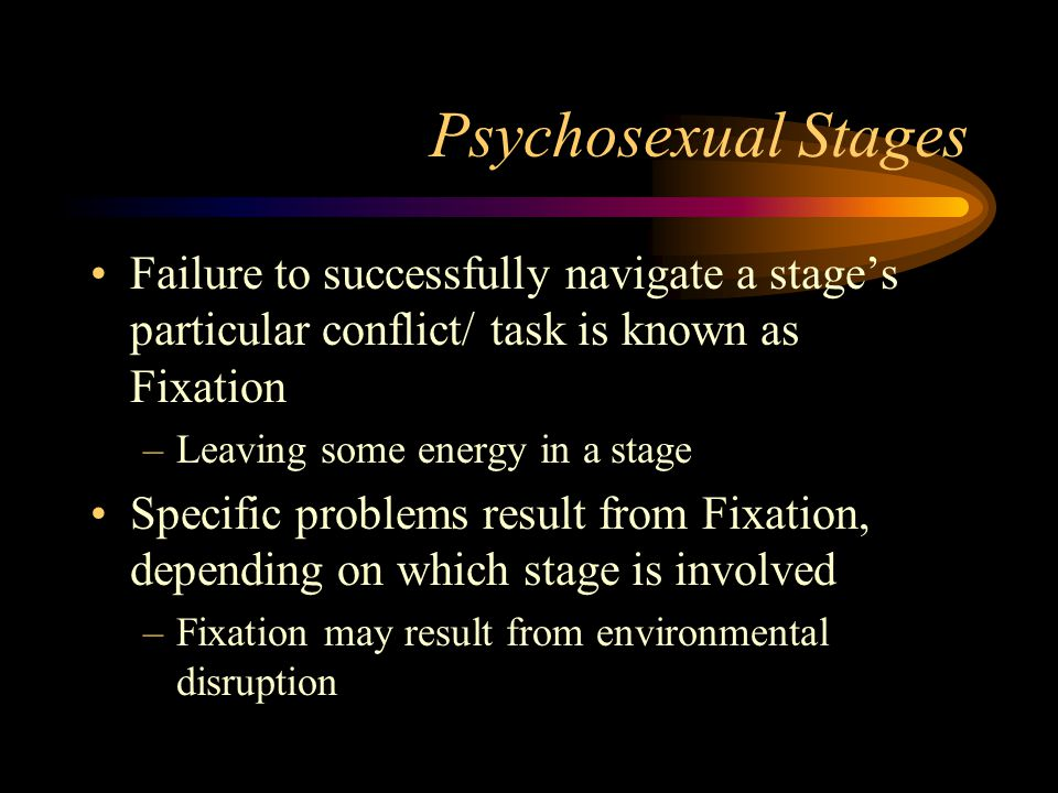 Psychosexual Stages Failure to successfully navigate a stages particular conflict/ task is known as Fixation –Leaving some energy in a stage Specific