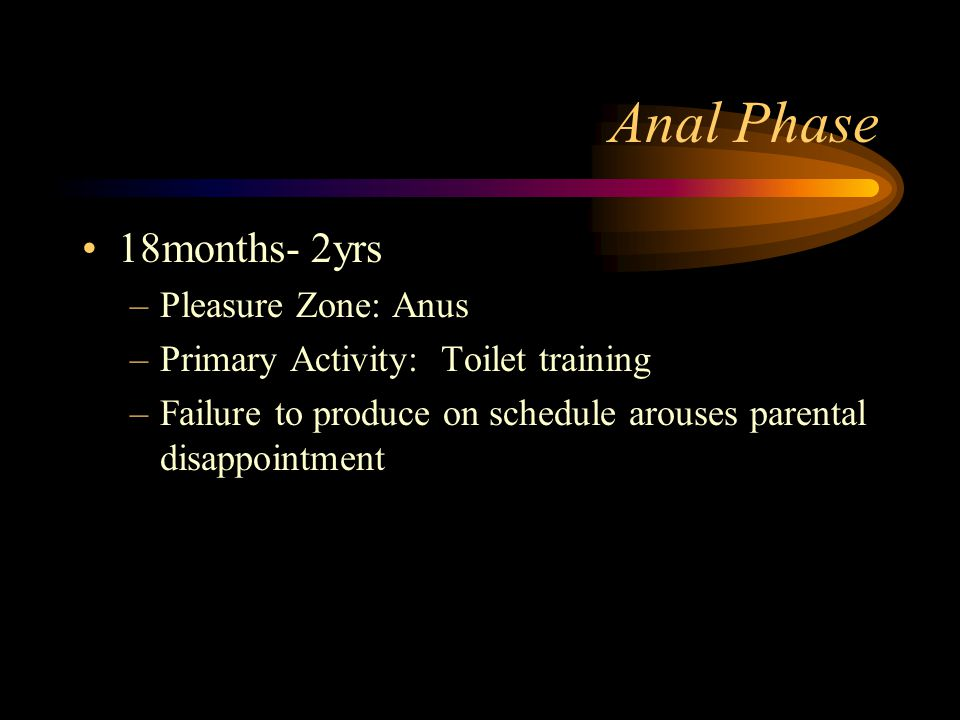 Anal Phase 18months- 2yrs –Pleasure Zone: Anus –Primary Activity: Toilet training –Failure to produce on schedule arouses parental disappointment