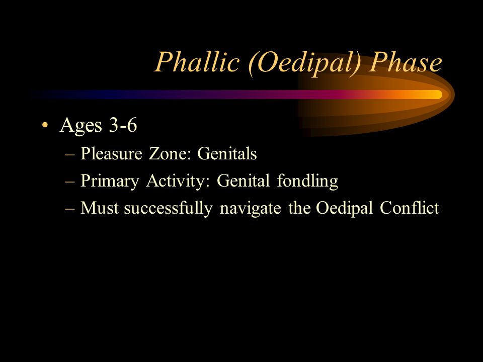Phallic (Oedipal) Phase Ages 3-6 –Pleasure Zone: Genitals –Primary Activity: Genital fondling –Must successfully navigate the Oedipal Conflict