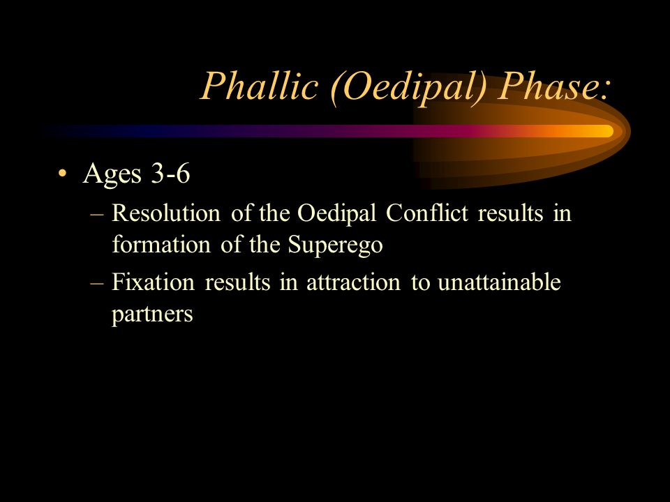 Phallic (Oedipal) Phase: Ages 3-6 –Resolution of the Oedipal Conflict results in formation of the Superego –Fixation results in attraction to unattain