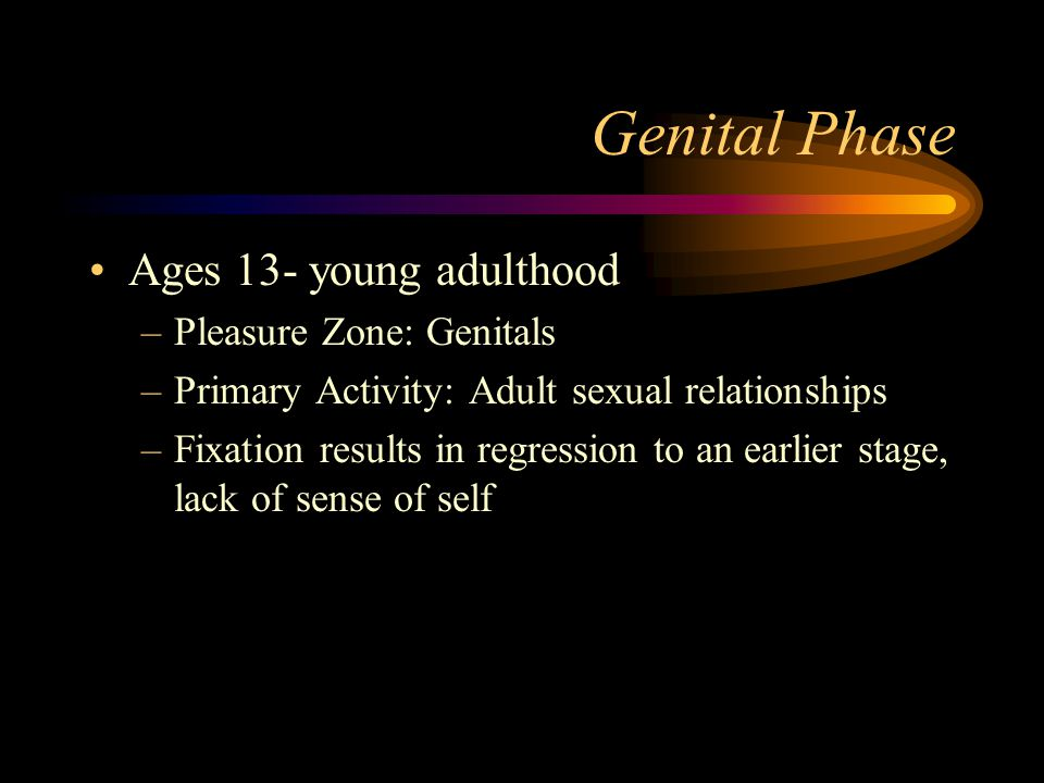 Genital Phase Ages 13- young adulthood –Pleasure Zone: Genitals –Primary Activity: Adult sexual relationships –Fixation results in regression to an ea