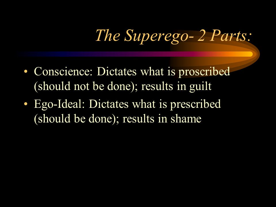 The Superego- 2 Parts: Conscience: Dictates what is proscribed (should not be done); results in guilt Ego-Ideal: Dictates what is prescribed (should b