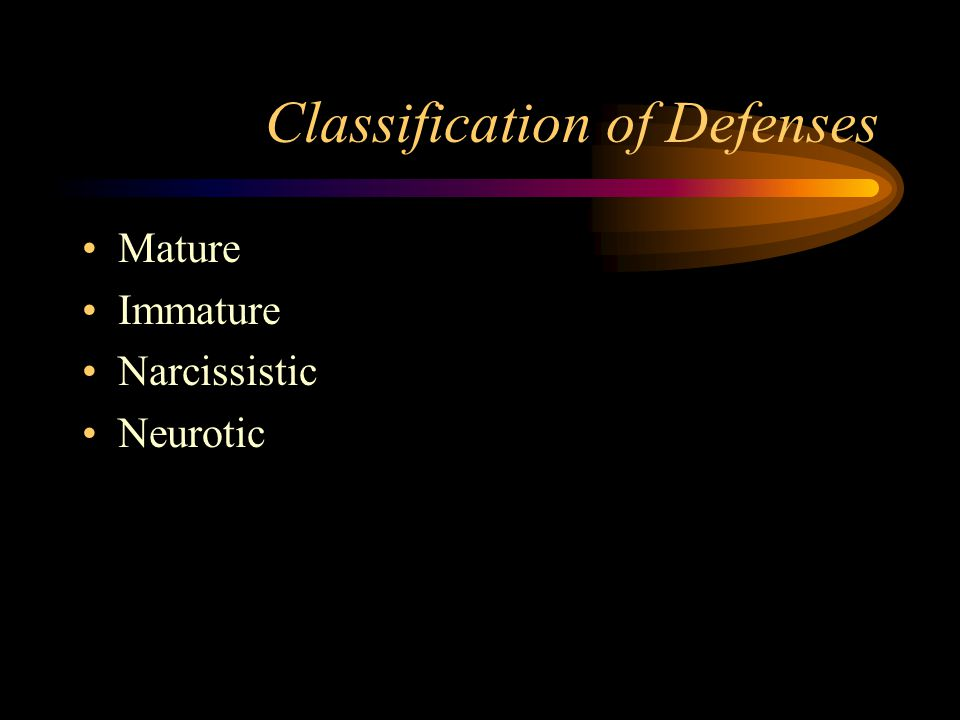Classification of Defenses Mature Immature Narcissistic Neurotic