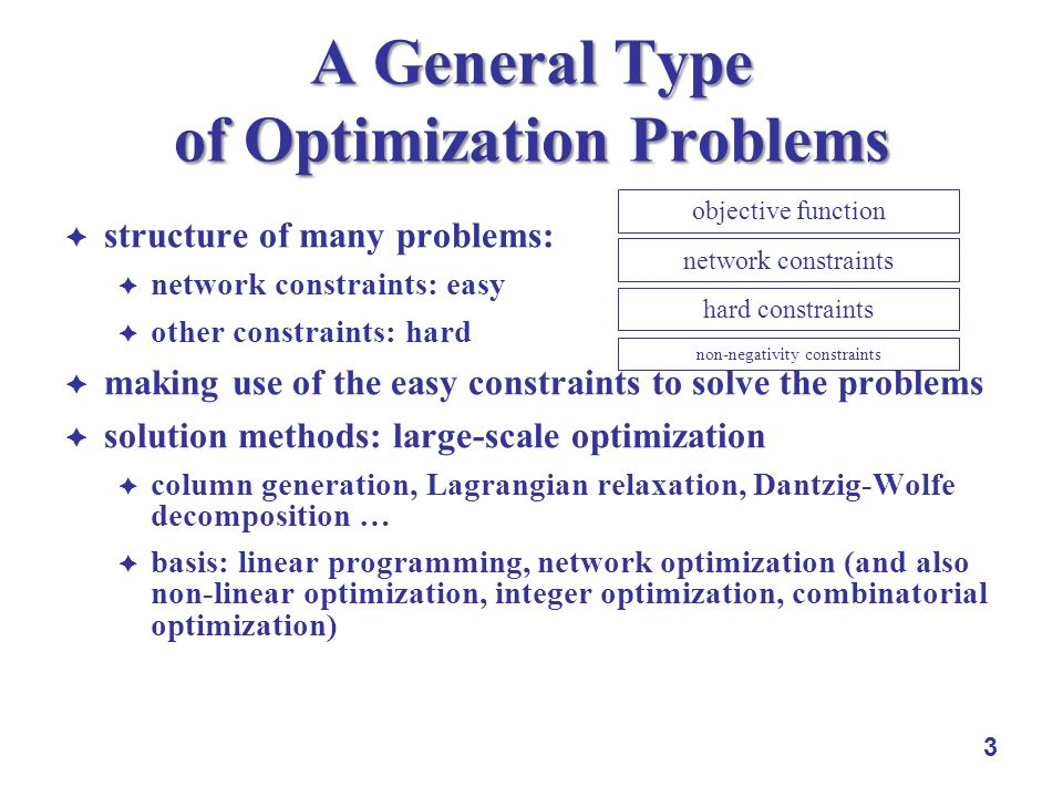 3 A General Type of Optimization Problems structure of many problems: network constraints: easy other constraints: hard making use of the easy constraints to solve the problems solution methods: large-scale optimization column generation, Lagrangian relaxation, Dantzig-Wolfe decomposition … basis: linear programming, network optimization (and also non-linear optimization, integer optimization, combinatorial optimization) objective function network constraints non-negativity constraints hard constraints