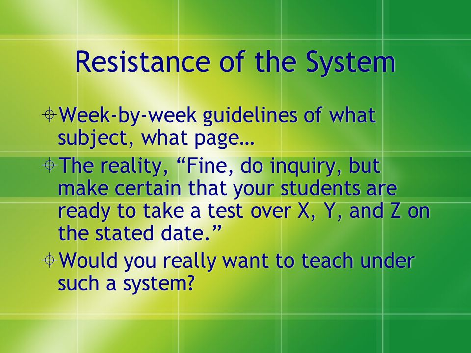 Resistance of the System Week-by-week guidelines of what subject, what page… The reality, Fine, do inquiry, but make certain that your students are re