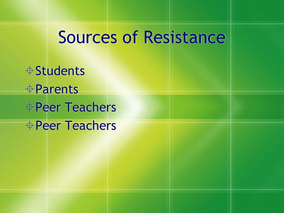 Sources of Resistance Students Parents Peer Teachers Students Parents Peer Teachers