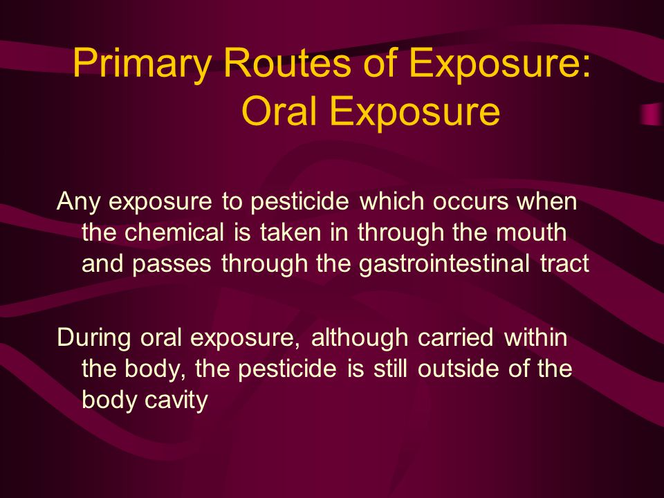 Primary Routes of Exposure: Oral Exposure Any exposure to pesticide which occurs when the chemical is taken in through the mouth and passes through th
