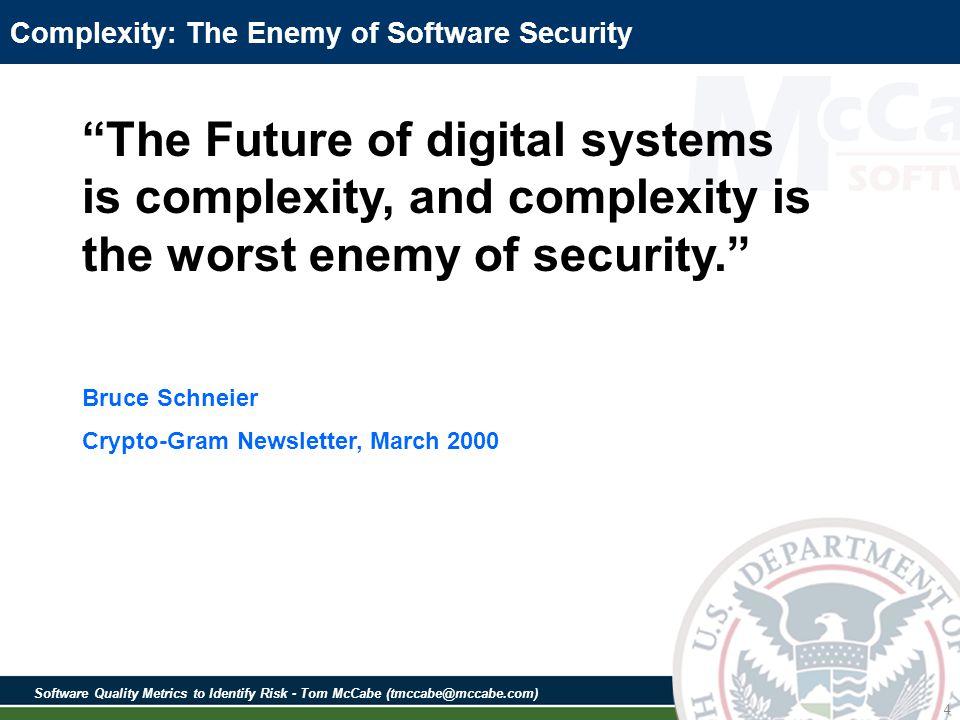 Software Quality Metrics to Identify Risk - Tom McCabe (tmccabe@mccabe.com) 85 SAMATE Source Code Examples