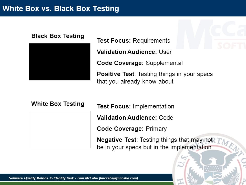 Software Quality Metrics to Identify Risk - Tom McCabe (tmccabe@mccabe.com) 47 Test Focus: Requirements Validation Audience: User Code Coverage: Supplemental Positive Test: Testing things in your specs that you already know about Test Focus: Implementation Validation Audience: Code Code Coverage: Primary Negative Test: Testing things that may not be in your specs but in the implementation White Box vs.