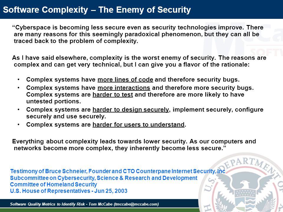 Software Quality Metrics to Identify Risk - Tom McCabe (tmccabe@mccabe.com) Something Not So Simple