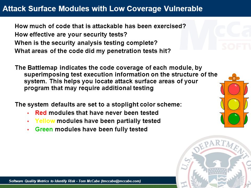 Software Quality Metrics to Identify Risk - Tom McCabe (tmccabe@mccabe.com) 50 Attack Surface Modules with Low Coverage Vulnerable How much of code that is attackable has been exercised.