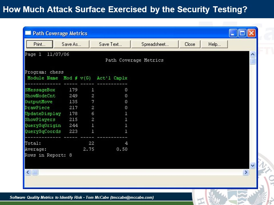 Software Quality Metrics to Identify Risk - Tom McCabe (tmccabe@mccabe.com) 52 How Much Attack Surface Exercised by the Security Testing
