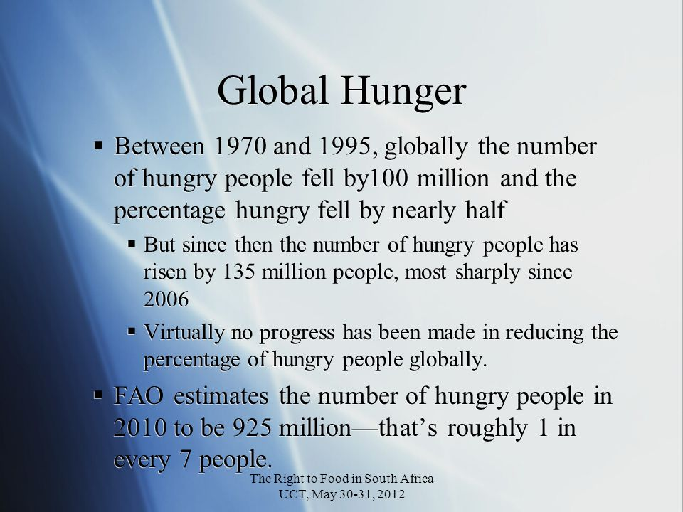 FAO Hunger Trends Undernourished Per capita Food Production & Income The Right to Food in South Africa UCT, May 30-31, 2012