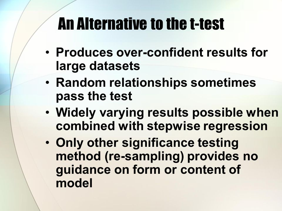 An Alternative to the t-test Produces over-confident results for large datasets Random relationships sometimes pass the test Widely varying results possible when combined with stepwise regression Only other significance testing method (re-sampling) provides no guidance on form or content of model