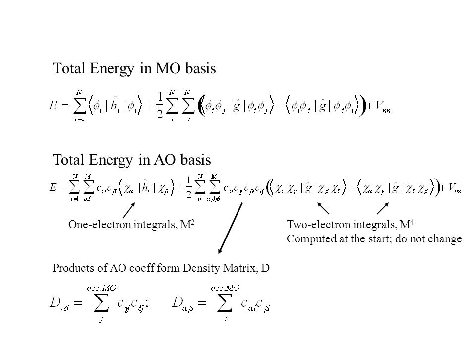 Total Energy in MO basis One-electron integrals, M 2 Two-electron integrals, M 4 Computed at the start; do not change Products of AO coeff form Density Matrix, D Total Energy in AO basis