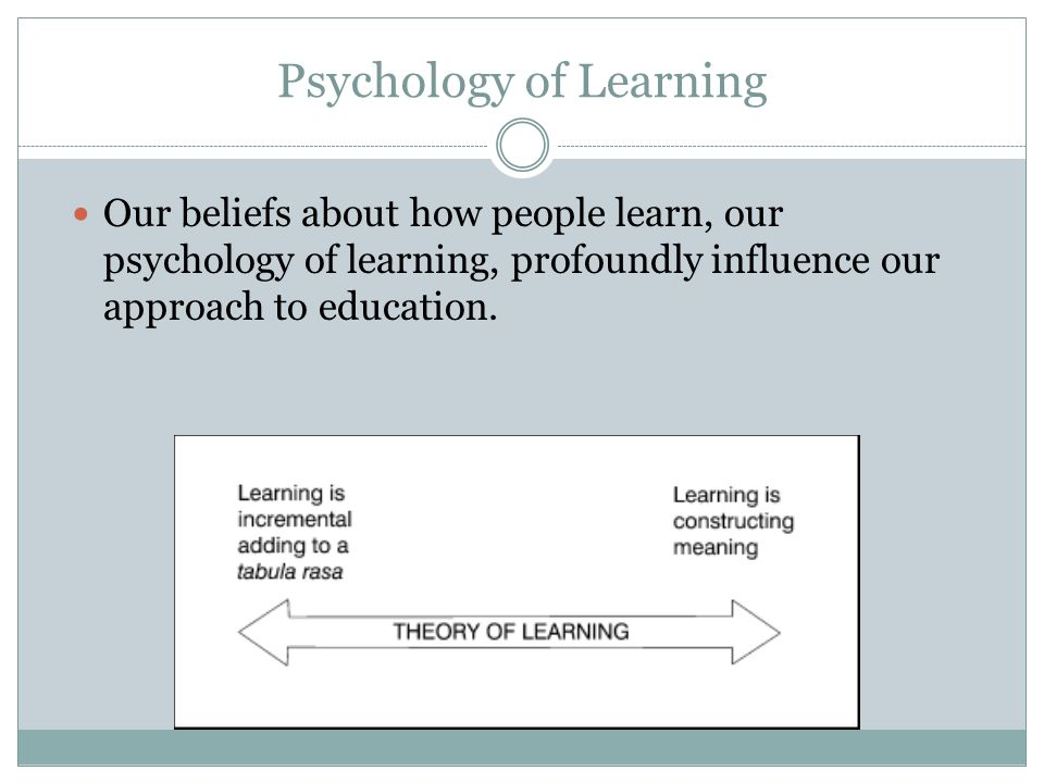 Psychology of Learning Our beliefs about how people learn, our psychology of learning, profoundly influence our approach to education.