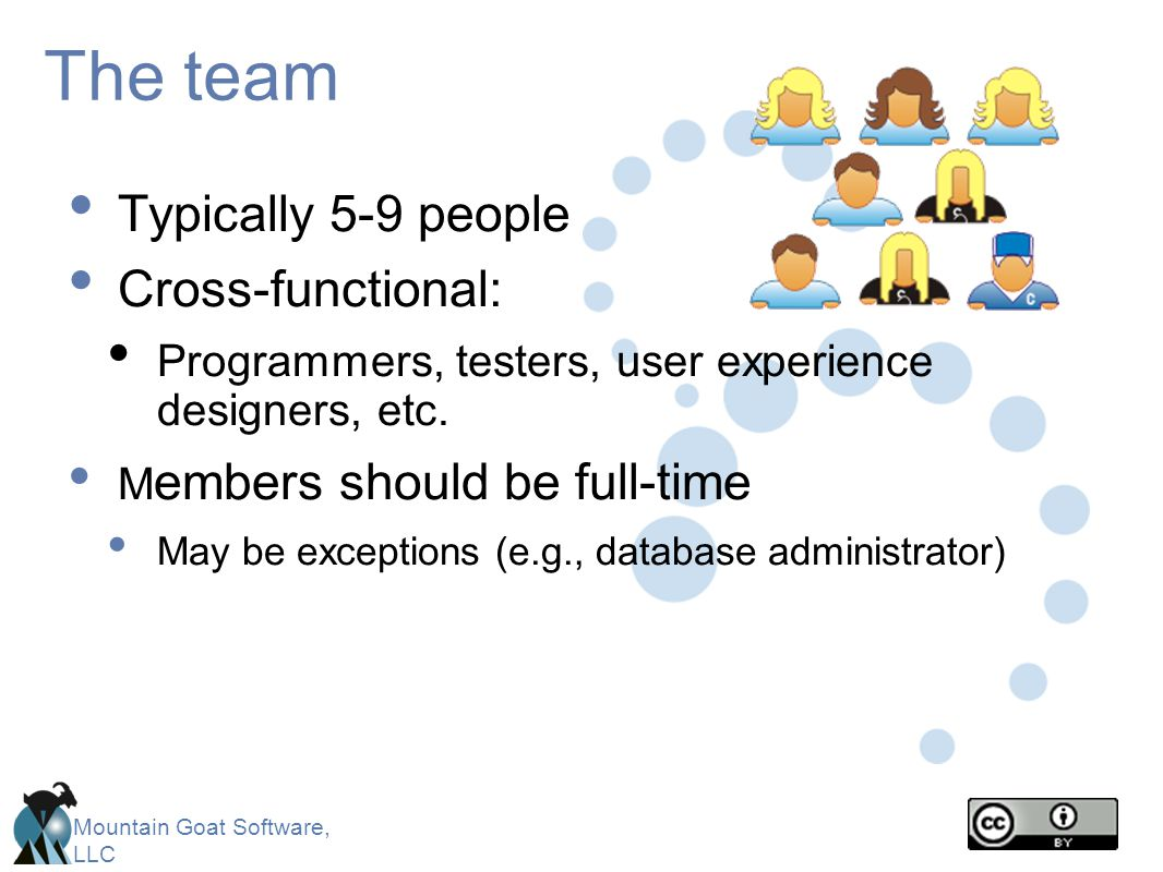 Mountain Goat Software, LLC The team Typically 5-9 people Cross-functional: Programmers, testers, user experience designers, etc. M embers should be f