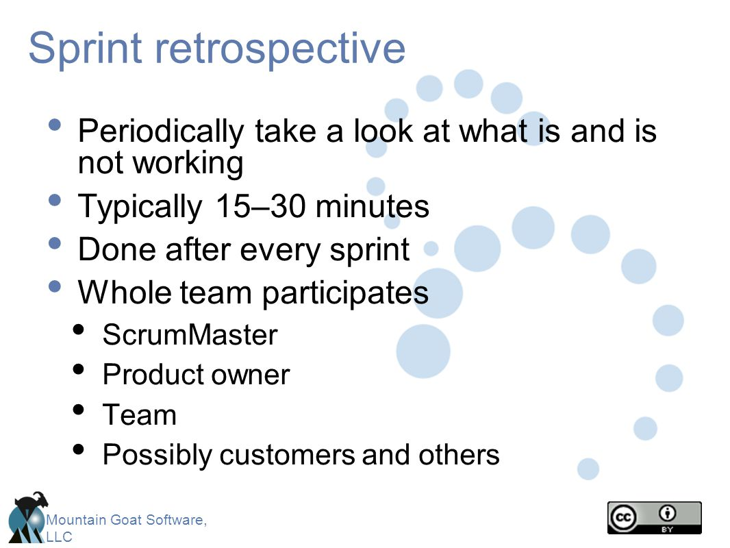 Mountain Goat Software, LLC Sprint retrospective Periodically take a look at what is and is not working Typically 15–30 minutes Done after every sprin