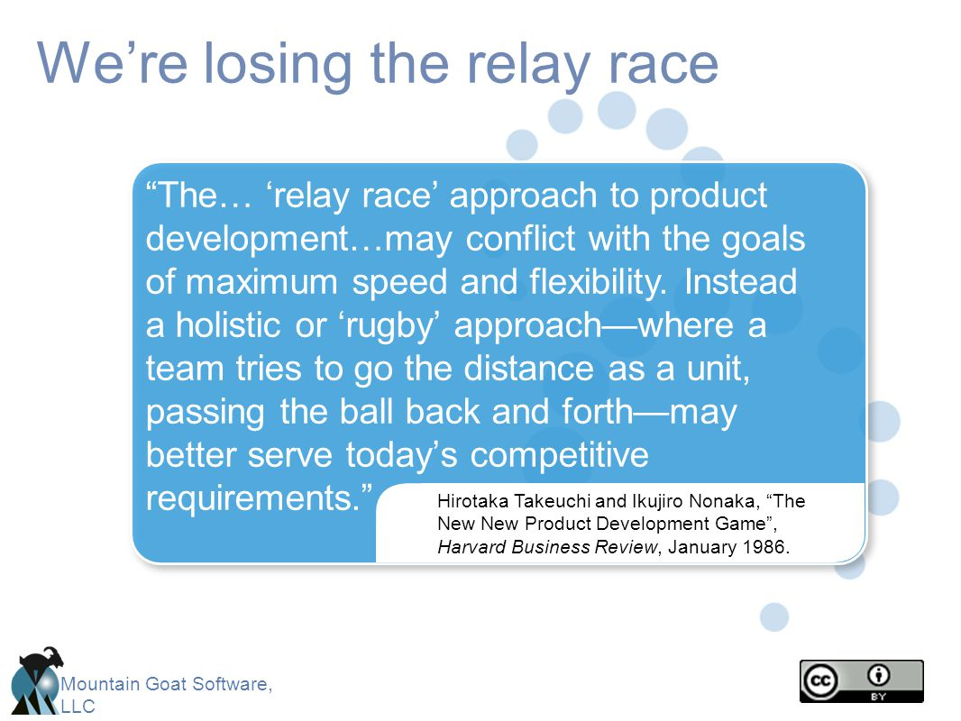 Mountain Goat Software, LLC Were losing the relay race Hirotaka Takeuchi and Ikujiro Nonaka, The New New Product Development Game, Harvard Business Re