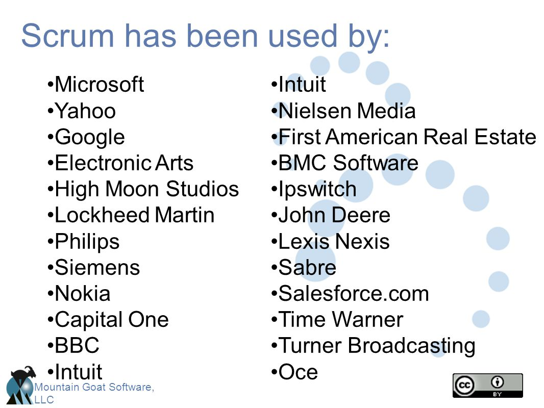 Mountain Goat Software, LLC Scrum has been used by: Microsoft Yahoo Google Electronic Arts High Moon Studios Lockheed Martin Philips Siemens Nokia Cap