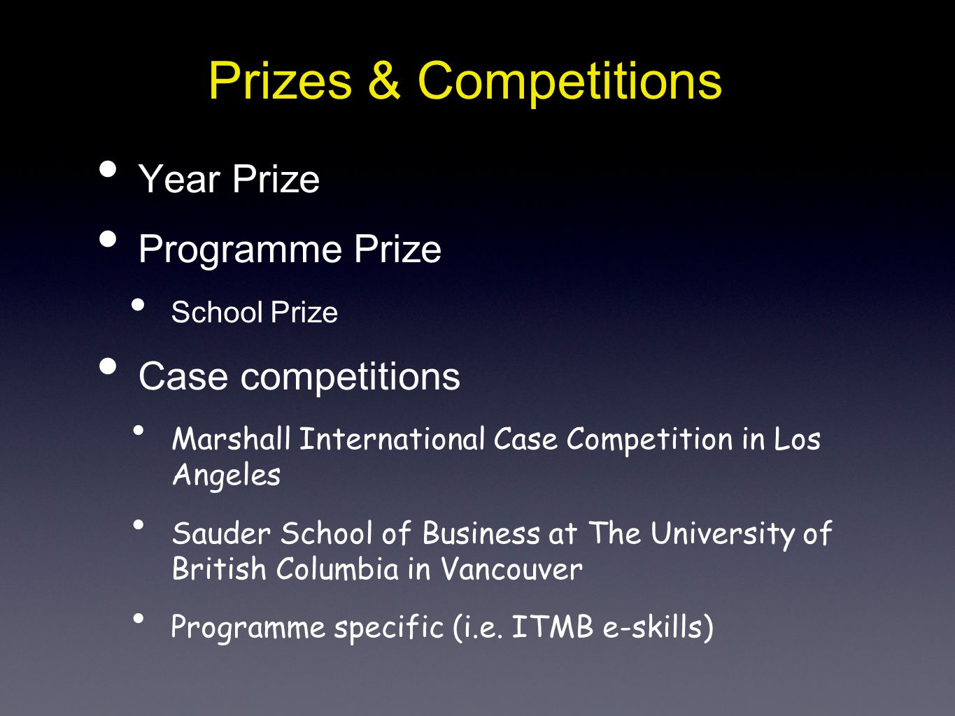 Prizes & Competitions Year Prize Programme Prize School Prize Case competitions Marshall International Case Competition in Los Angeles Sauder School o