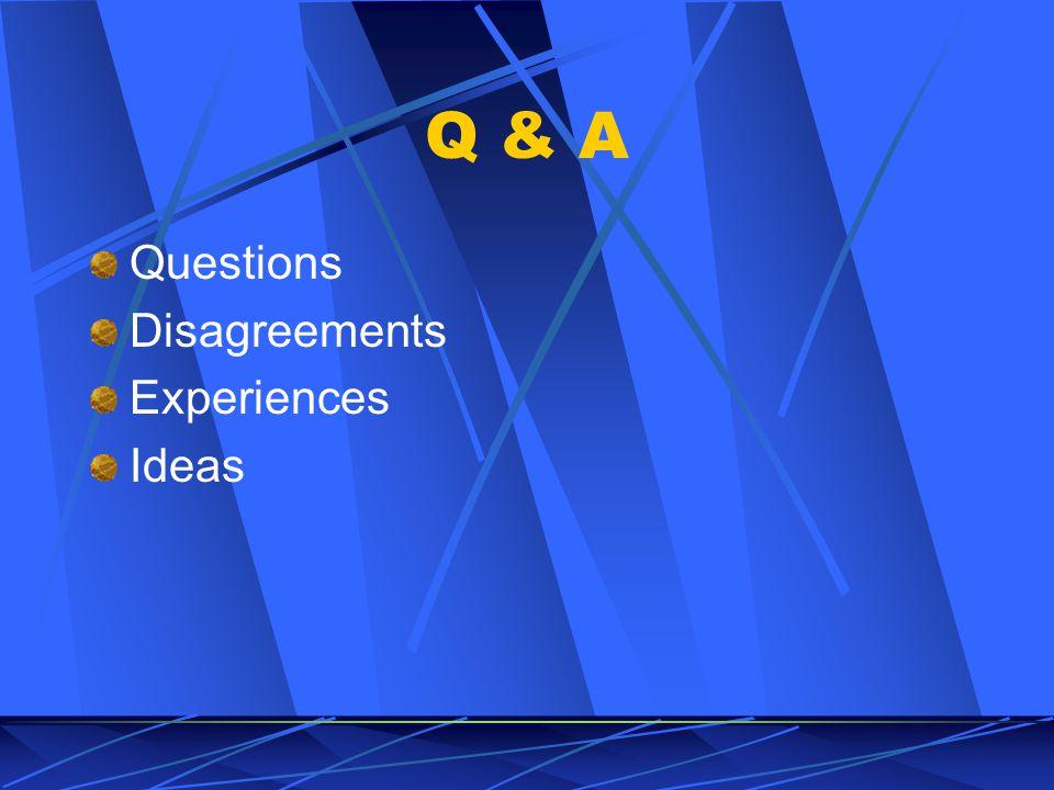 Q & A Questions Disagreements Experiences Ideas