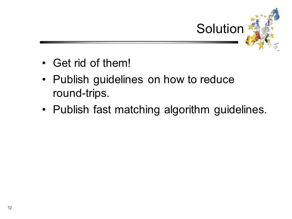 12 Solution Get rid of them. Publish guidelines on how to reduce round-trips.
