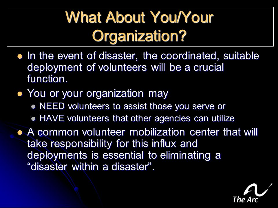 What About You/Your Organization.
