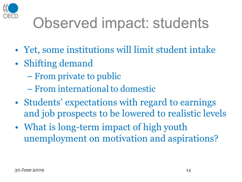 Observed impact: students Yet, some institutions will limit student intake Shifting demand –From private to public –From international to domestic Students expectations with regard to earnings and job prospects to be lowered to realistic levels What is long-term impact of high youth unemployment on motivation and aspirations.