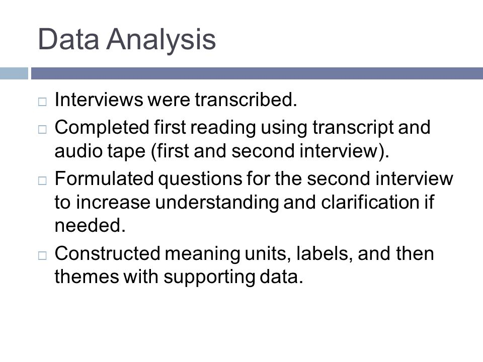 Data Analysis Interviews were transcribed.