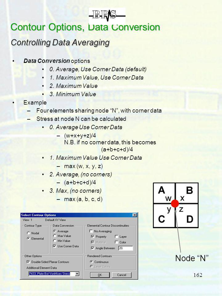 162 Data Conversion options 0. Average, Use Corner Data (default) 1. Maximum Value, Use Corner Data 2. Maximum Value 3. Minimum Value Example –Four el