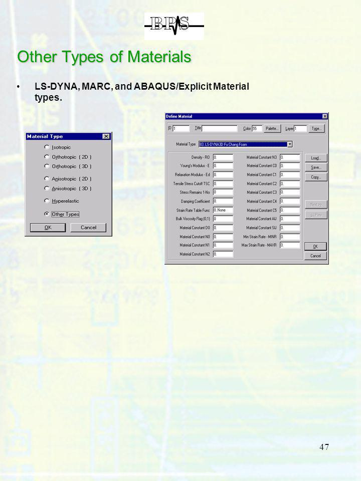 47 Other Types of Materials LS-DYNA, MARC, and ABAQUS/Explicit Material types.