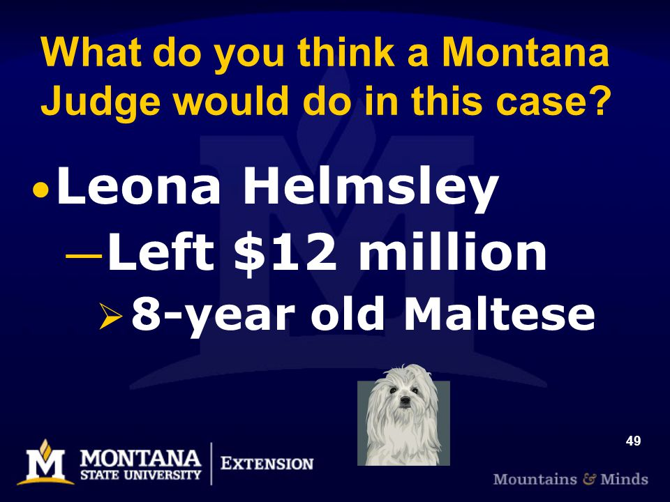 49 What do you think a Montana Judge would do in this case? Leona Helmsley Left $12 million 8-year old Maltese