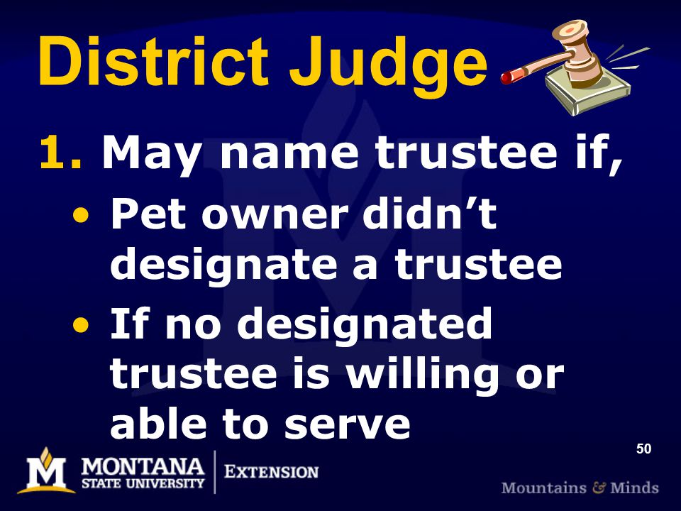 50 District Judge 1. May name trustee if, Pet owner didnt designate a trustee If no designated trustee is willing or able to serve