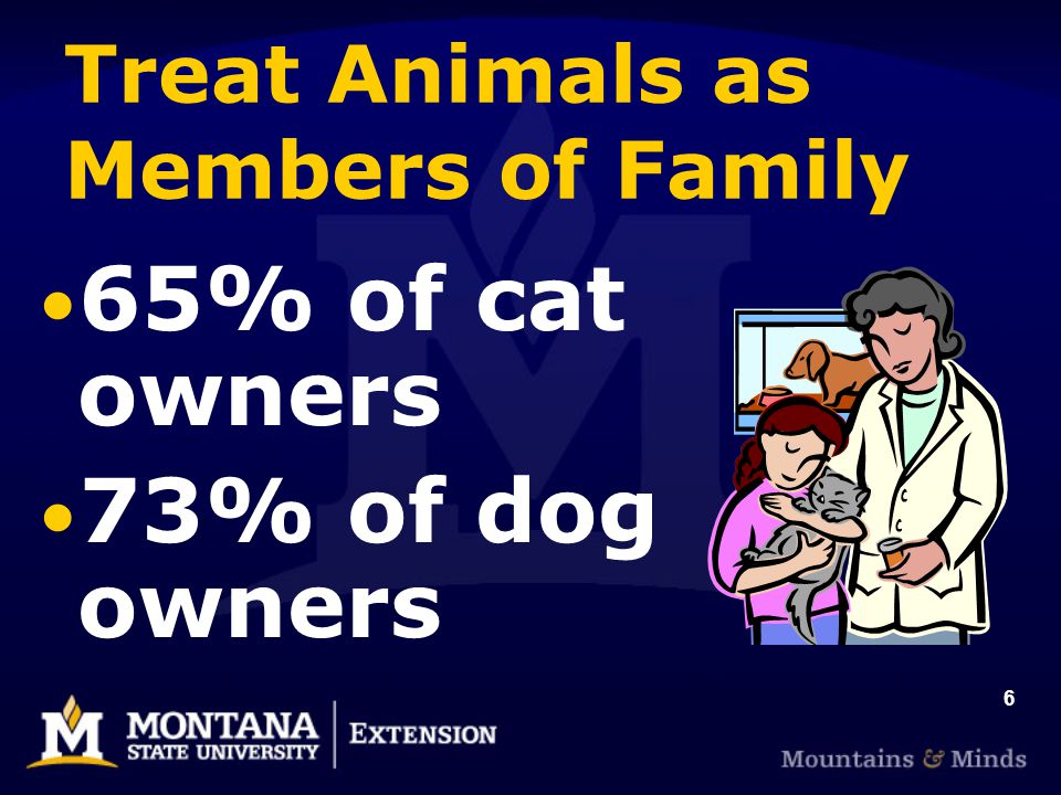 6 Treat Animals as Members of Family 65% of cat owners 73% of dog owners