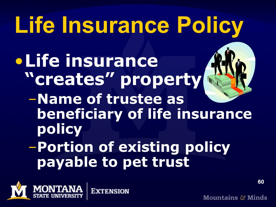 60 Life Insurance Policy Life insurance creates property –Name of trustee as beneficiary of life insurance policy –Portion of existing policy payable