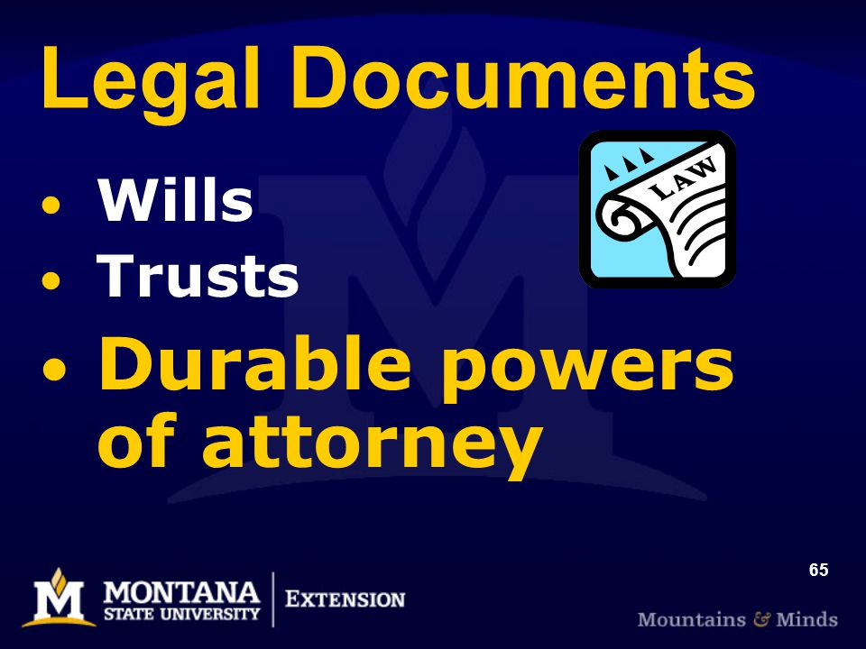 65 Legal Documents Wills Trusts Durable powers of attorney