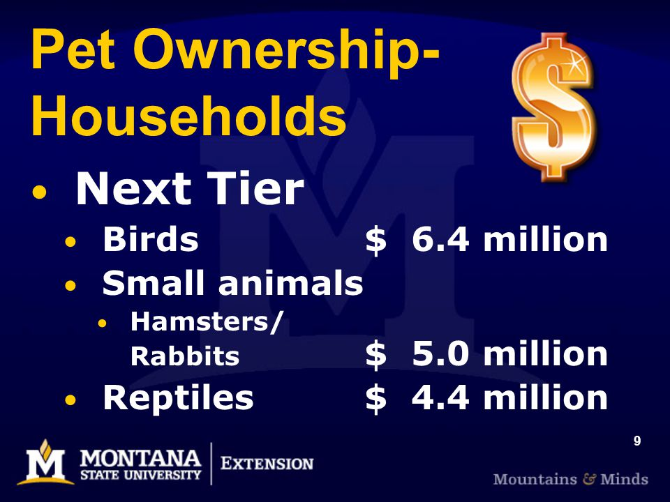 9 Pet Ownership- Households Next Tier Birds $ 6.4 million Small animals Hamsters/ Rabbits $ 5.0 million Reptiles$ 4.4 million
