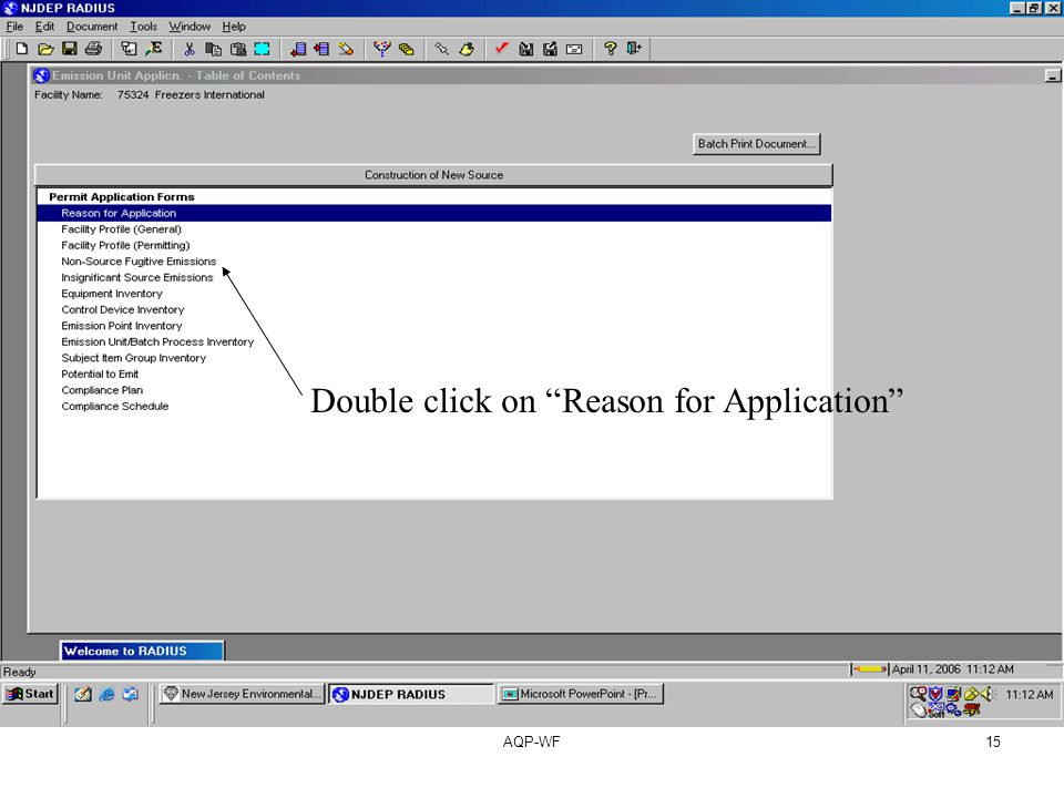 AQP-WF15 Double click on Reason for Application