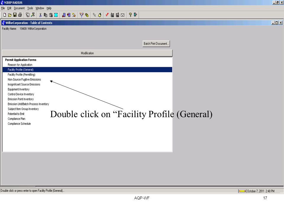 AQP-WF17 Double click on Facility Profile (General)